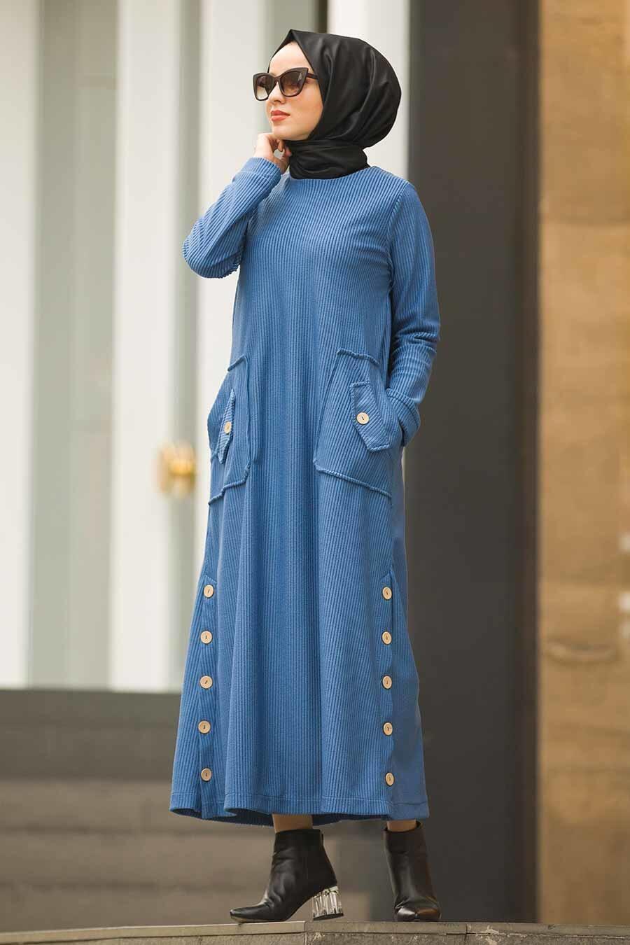Neva Style - Düğme Detaylı İndigo Mavi Fitilli Kadife Elbise 15101IM