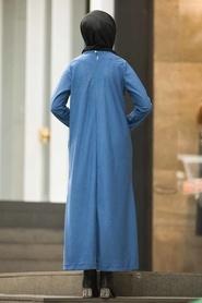 Neva Style - Düğme Detaylı İndigo Mavi Fitilli Kadife Elbise 15101IM - Thumbnail