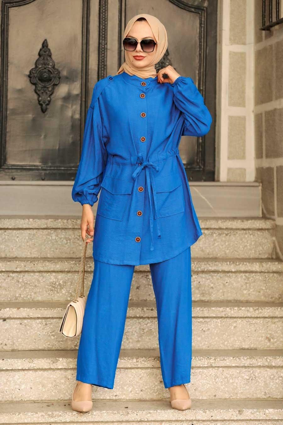 Neva Style - Düğme Detaylı İndigo Mavisi Tesettür İkili Takım 51920IM