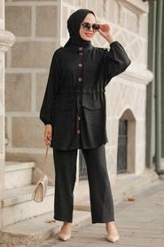 Neva Style - Düğme Detaylı Siyah Tesettür İkili Takım 51920S - Thumbnail