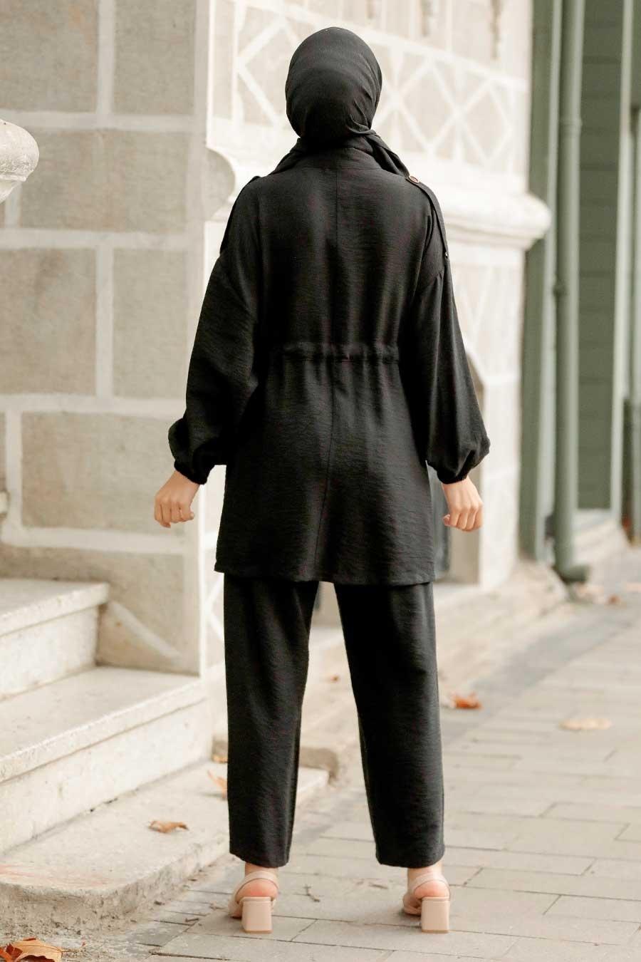 Neva Style - Düğme Detaylı Siyah Tesettür İkili Takım 51920S