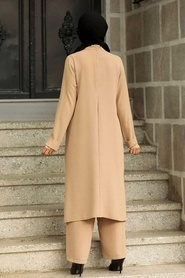 Neva Style - Düğmeli Bisküvi Tesettür İkili Takım 51901BS - Thumbnail