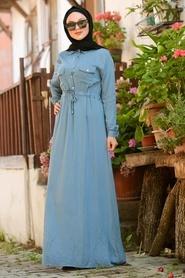 Neva Style - Düğmeli İndigo Mavisi Tesettür Elbise 2973IM - Thumbnail