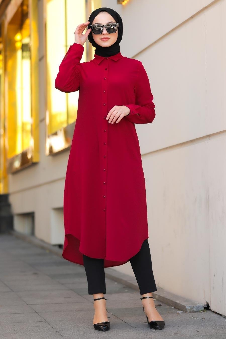 Neva Style - Düğmeli Kırmızı Tesettür Tunik 4000K