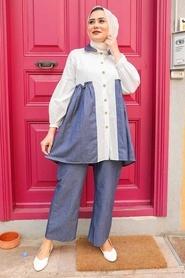 Neva Style - Düğmeli Lacivert İkili Takım 534L - Thumbnail
