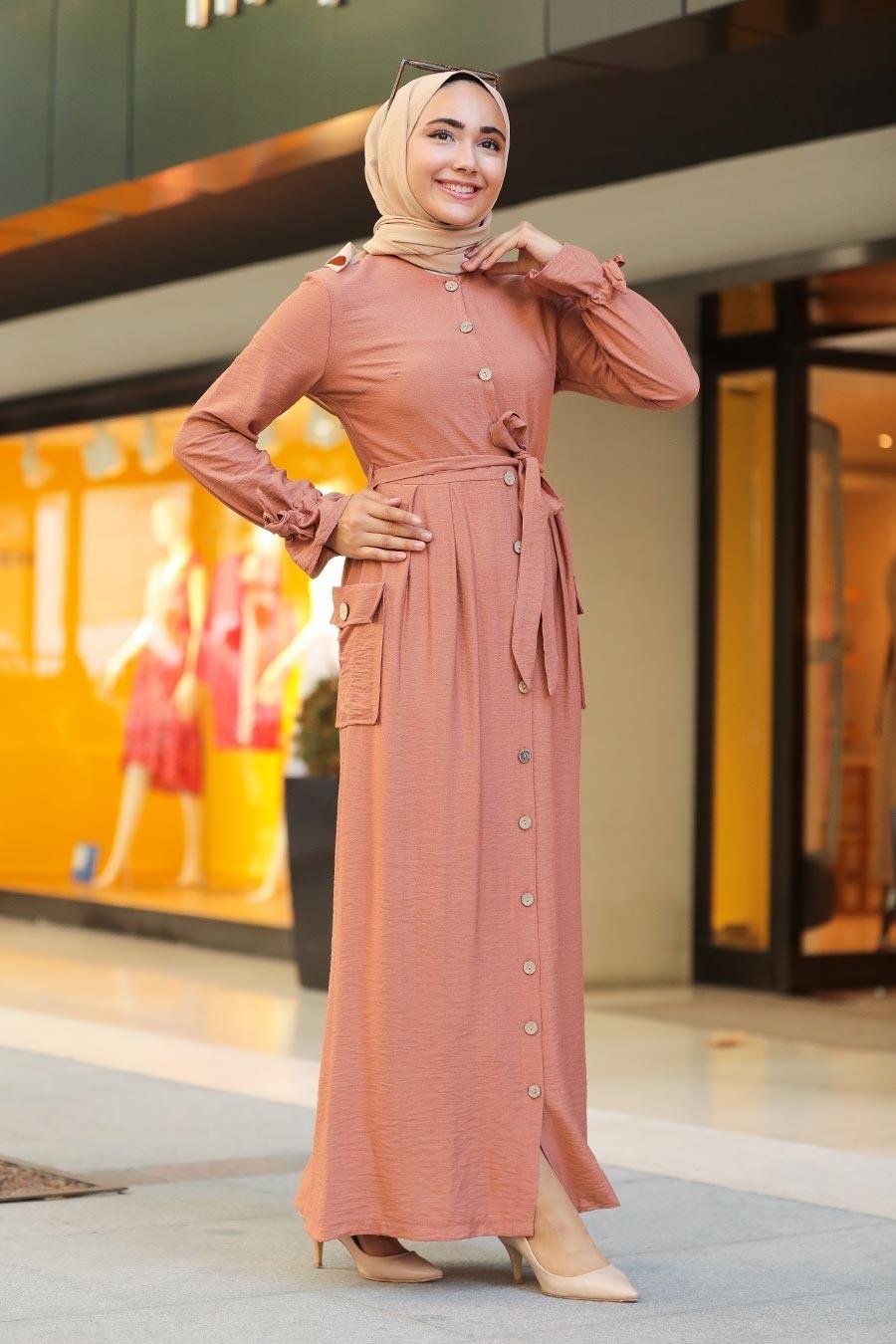 Neva Style - Düğmeli Pudra Tesettür Elbise 3335PD