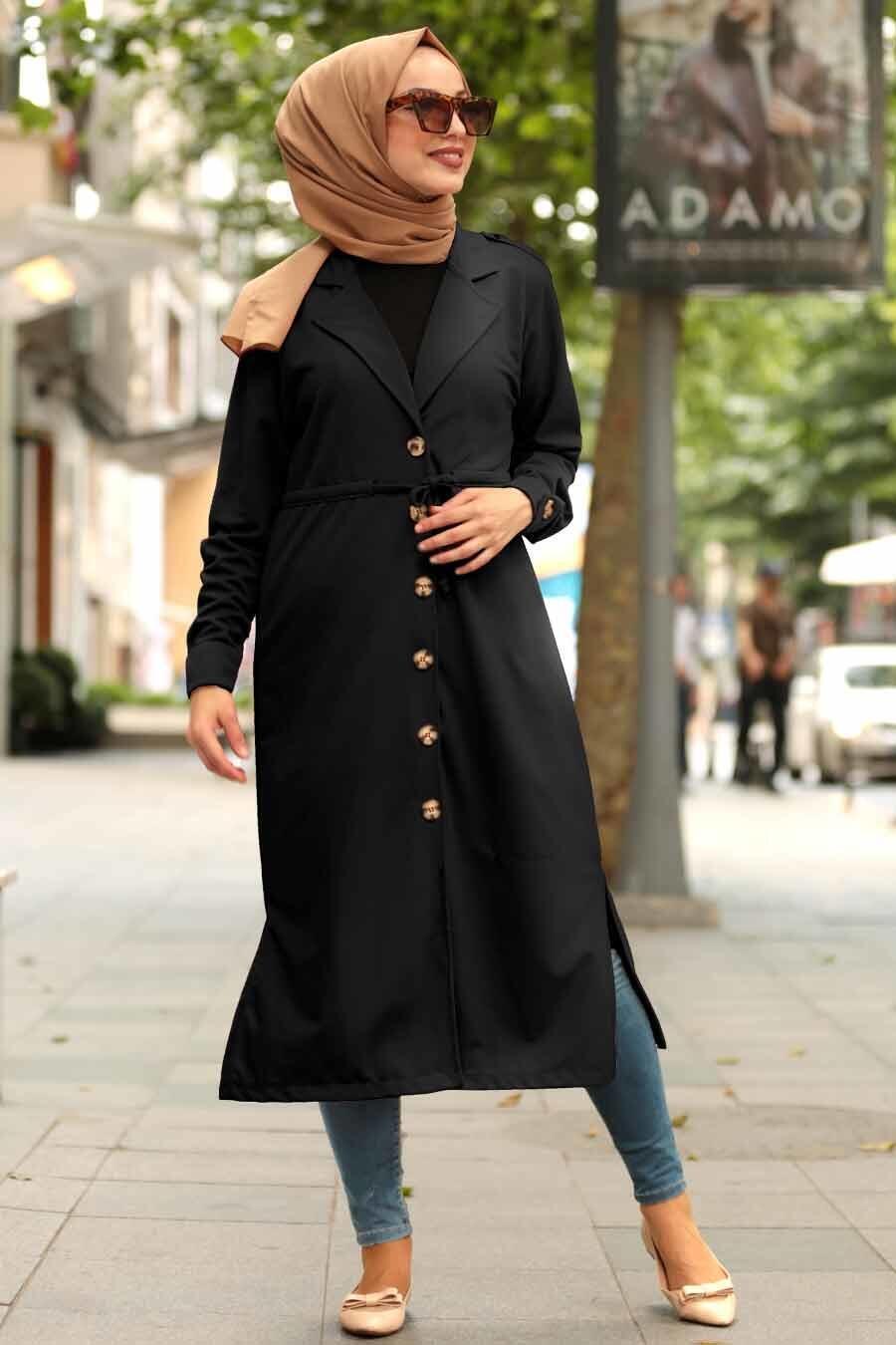 Neva Style - Düğmeli Siyah Tesettür Kap 38080S