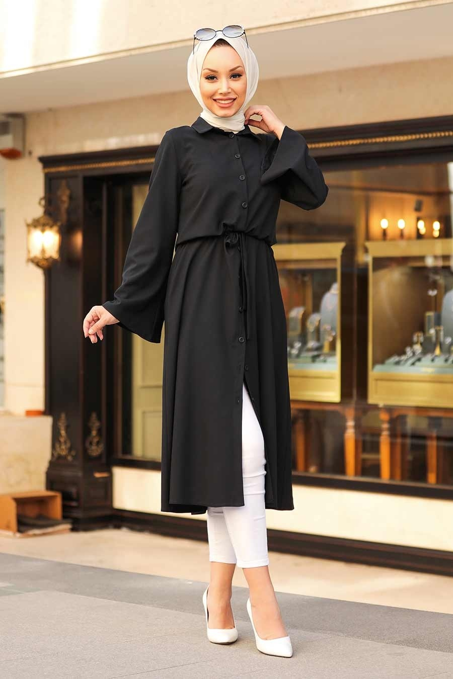 Neva Style - Düğmeli Siyah Tesettür Tunik 5607S