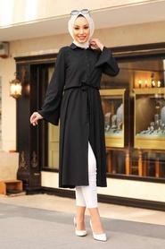 Neva Style - Düğmeli Siyah Tesettür Tunik 5607S - Thumbnail