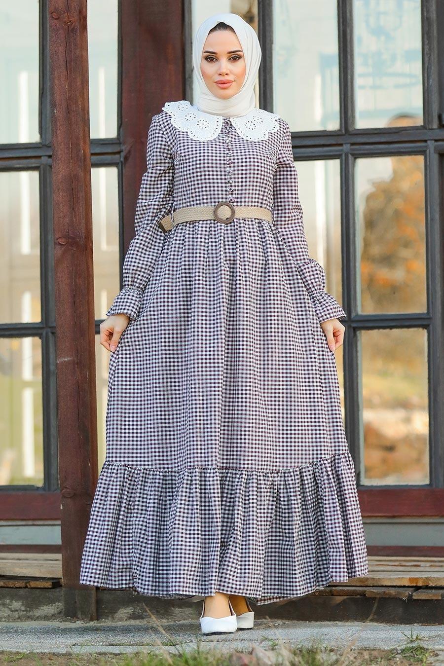 Neva Style - Ekoseli Bordo Tesettür Elbise 2711BR