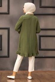 Neva Style - Etek Ucu Volanlı Haki Tesettür Tunik 528HK - Thumbnail