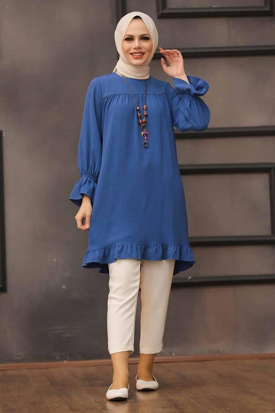 Neva Style - Etek Ucu Volanlı İndigo Mavisi Tesettür Tunik 528IM