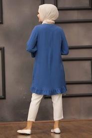 Neva Style - Etek Ucu Volanlı İndigo Mavisi Tesettür Tunik 528IM - Thumbnail