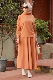 Neva Style - Etekli Camel Tesettür İkili Takım 1152C - Thumbnail
