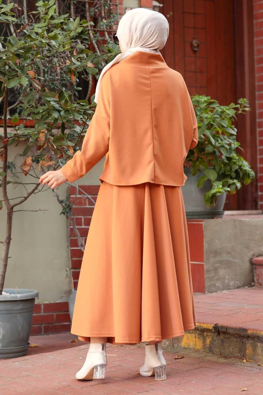 Neva Style - Etekli Camel Tesettür İkili Takım 1152C