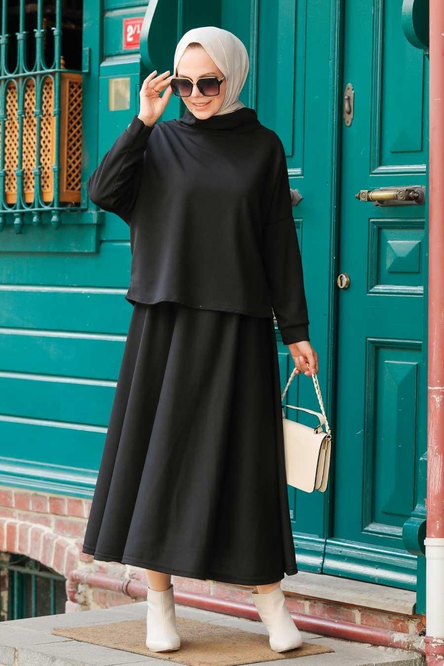 Neva Style - Etekli Siyah Tesettür İkili Takım 1152S