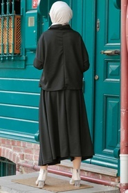 Neva Style - Etekli Siyah Tesettür İkili Takım 1152S - Thumbnail
