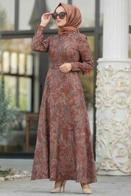 Neva Style - Etnik Desenli Taba Tesettür Elbise 7591TB - Thumbnail