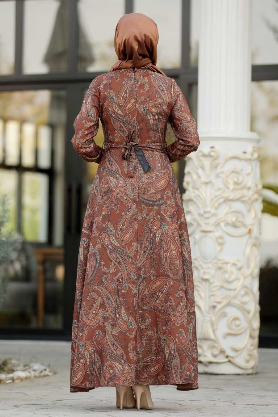 Neva Style - Etnik Desenli Taba Tesettür Elbise 7591TB