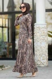Neva Style - Etnik Desenli Vizon Tesettür Elbise 7591V - Thumbnail