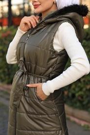 Neva Style - Fermuarlı Haki Tesettür Şişme Yelek 15110HK - Thumbnail