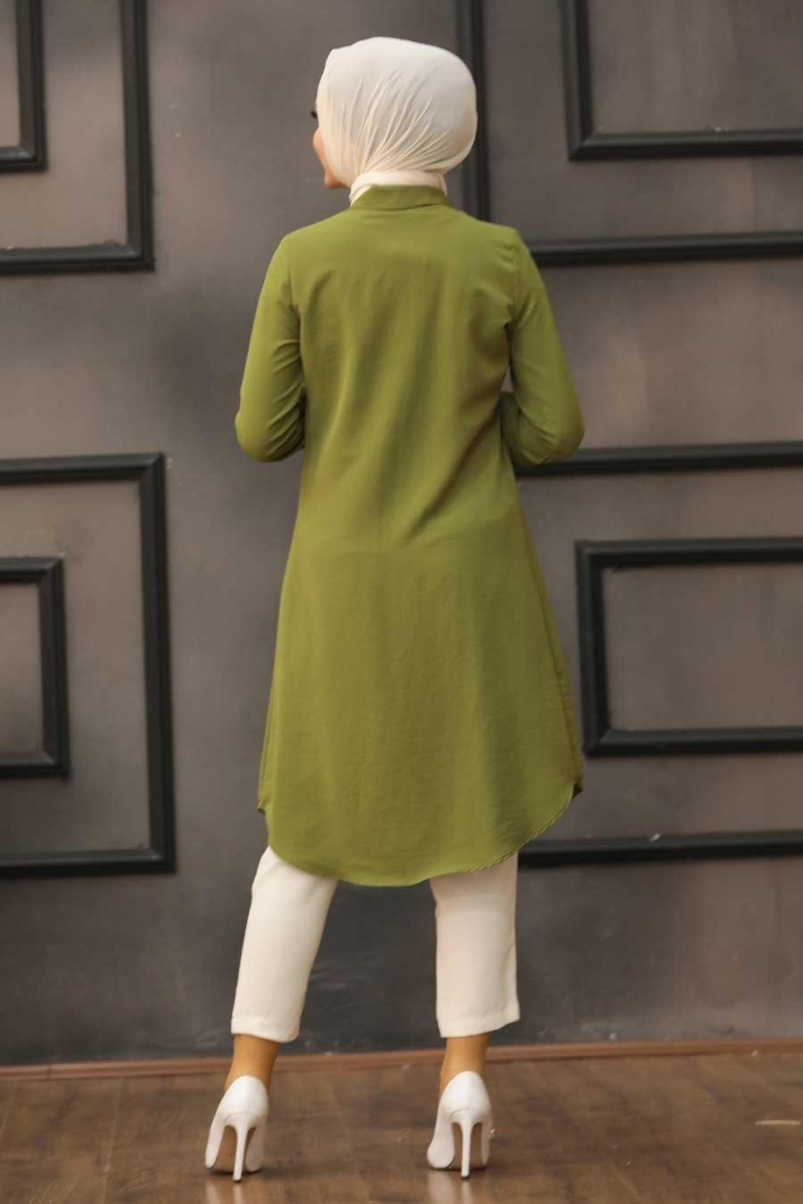 Neva Style - Fermuarlı Haki Tesettür Tunik 467HK