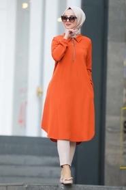 Neva Style - Fermuarlı Turuncu Tesettür Tunik 467T - Thumbnail