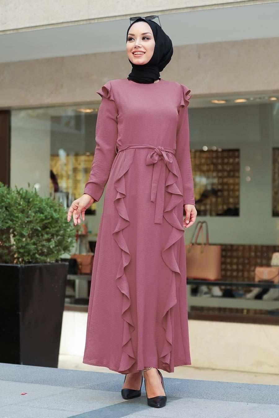 Neva Style - Fırfır Detaylı Gül Kurusu Tesettür Elbise 3331GK