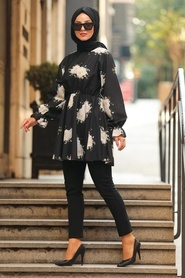 Neva Style - Gül Desenli Siyah Tesettür Tunik 61390S - Thumbnail
