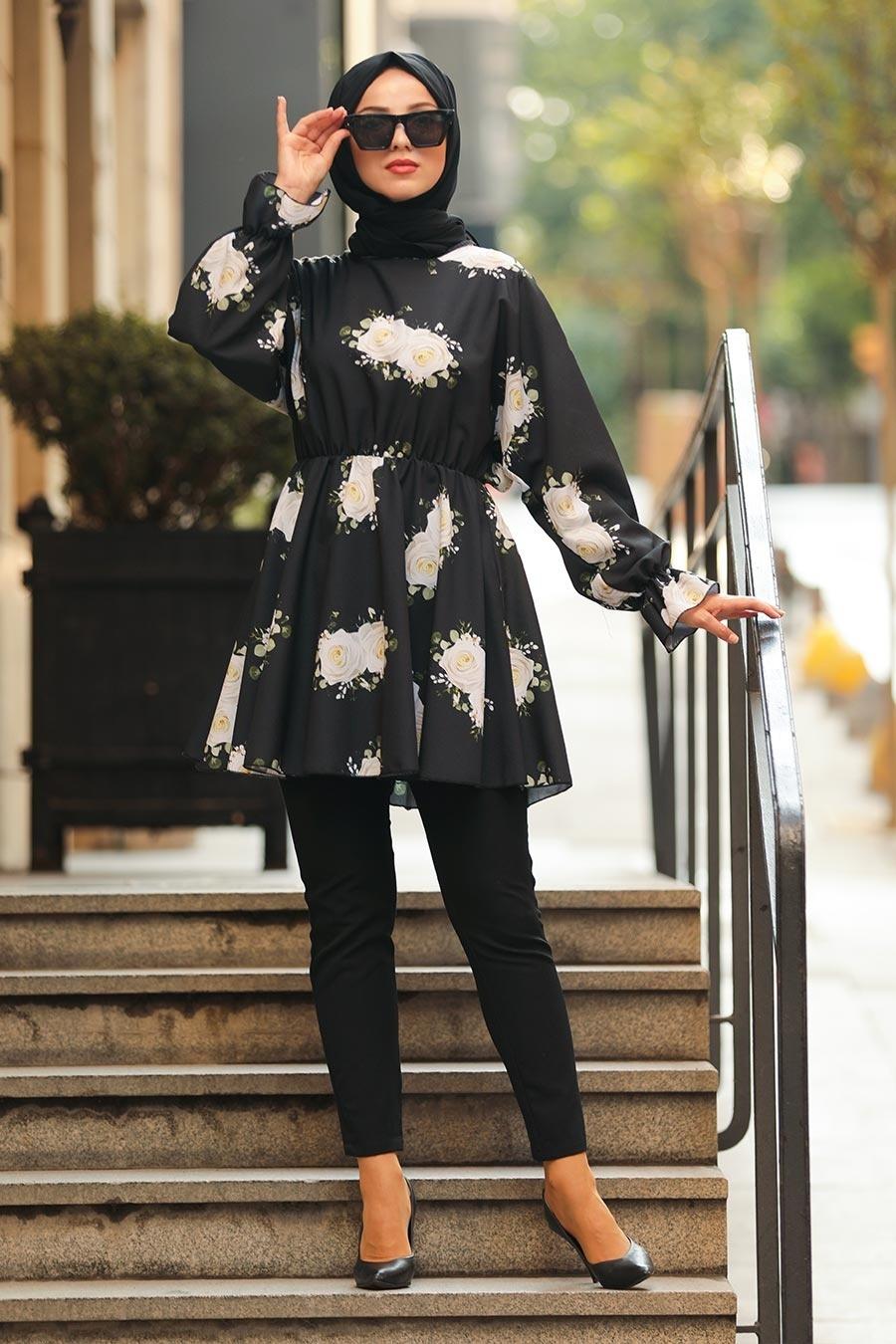Neva Style - Gül Desenli Siyah Tesettür Tunik 61390S