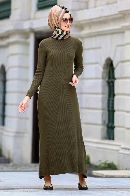 Neva Style - Haki Triko Tesettür Elbise 15120HK