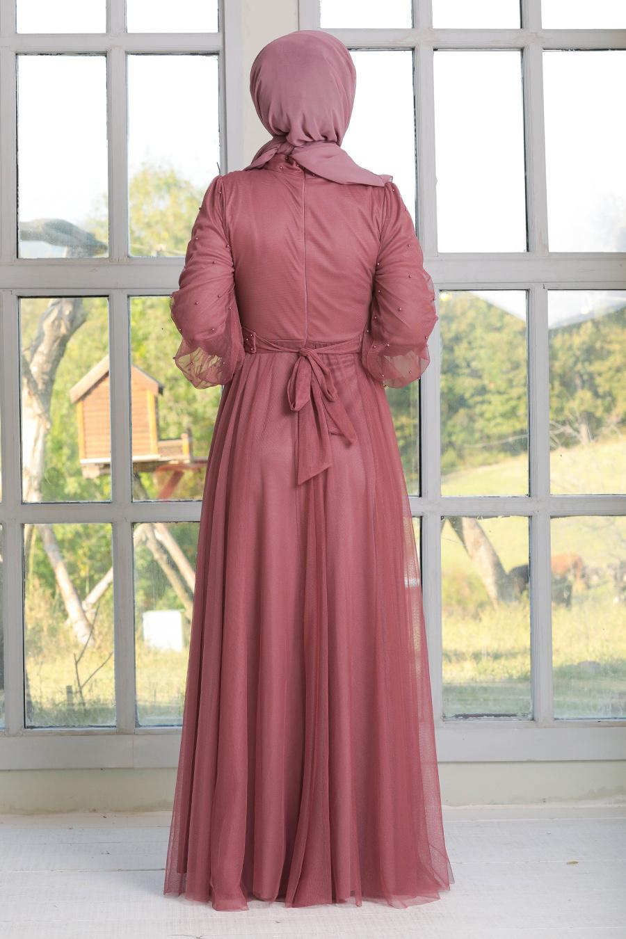 Neva Style - İnci Detaylı Gül Kurusu Tesettür Abiye Elbise 50080GK