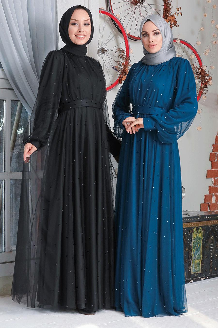 Neva Style - İnci Detaylı Siyah Tesettür Abiye Elbise 50080S