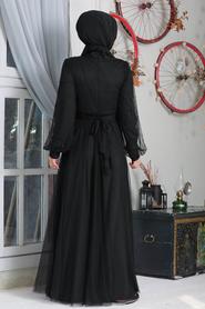 Neva Style - İnci Detaylı Siyah Tesettür Abiye Elbise 50080S - Thumbnail
