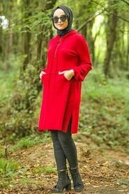 Neva Style - Kapşonlu Kırmızı Tesettür Triko Tunik 14606K - Thumbnail