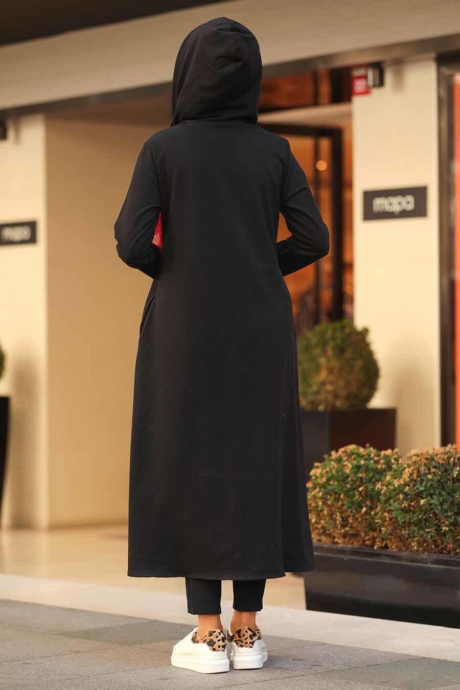 Neva Style - Kapşonlu Siyah Tesettür Kap 22560S