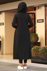 Neva Style - Kapşonlu Siyah Tesettür Kap 22560S - Thumbnail