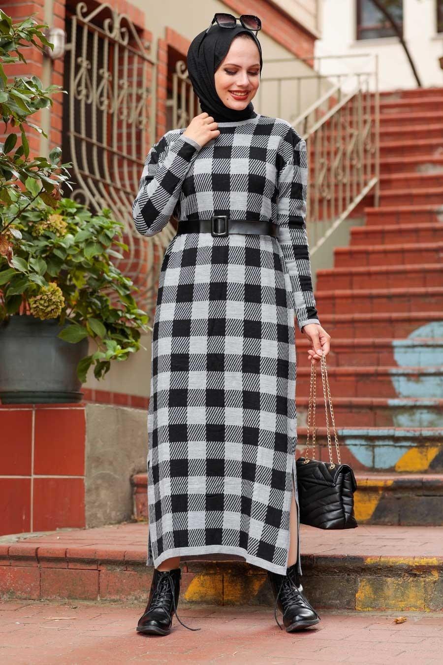 Neva Style - Kareli Gri Tesettür Triko Elbise 3048GR