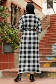 Neva Style - Kareli Gri Tesettür Triko Elbise 3048GR - Thumbnail