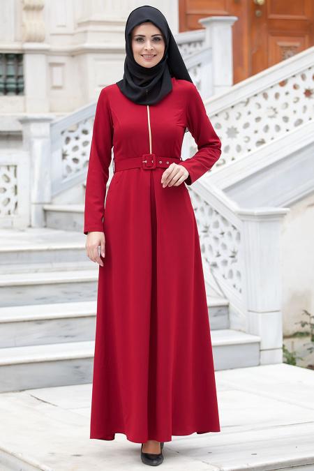 Neva Style - Kemerli Bordo Elbise