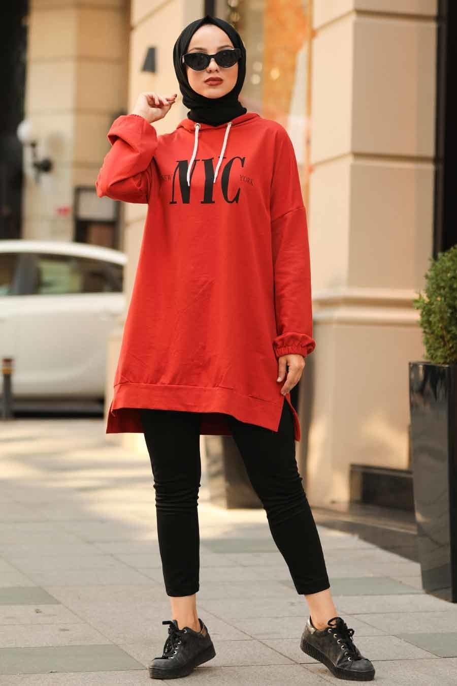 Neva Style - Kiremit Tesettür Sweatshirt & Tunik 10362KRMT