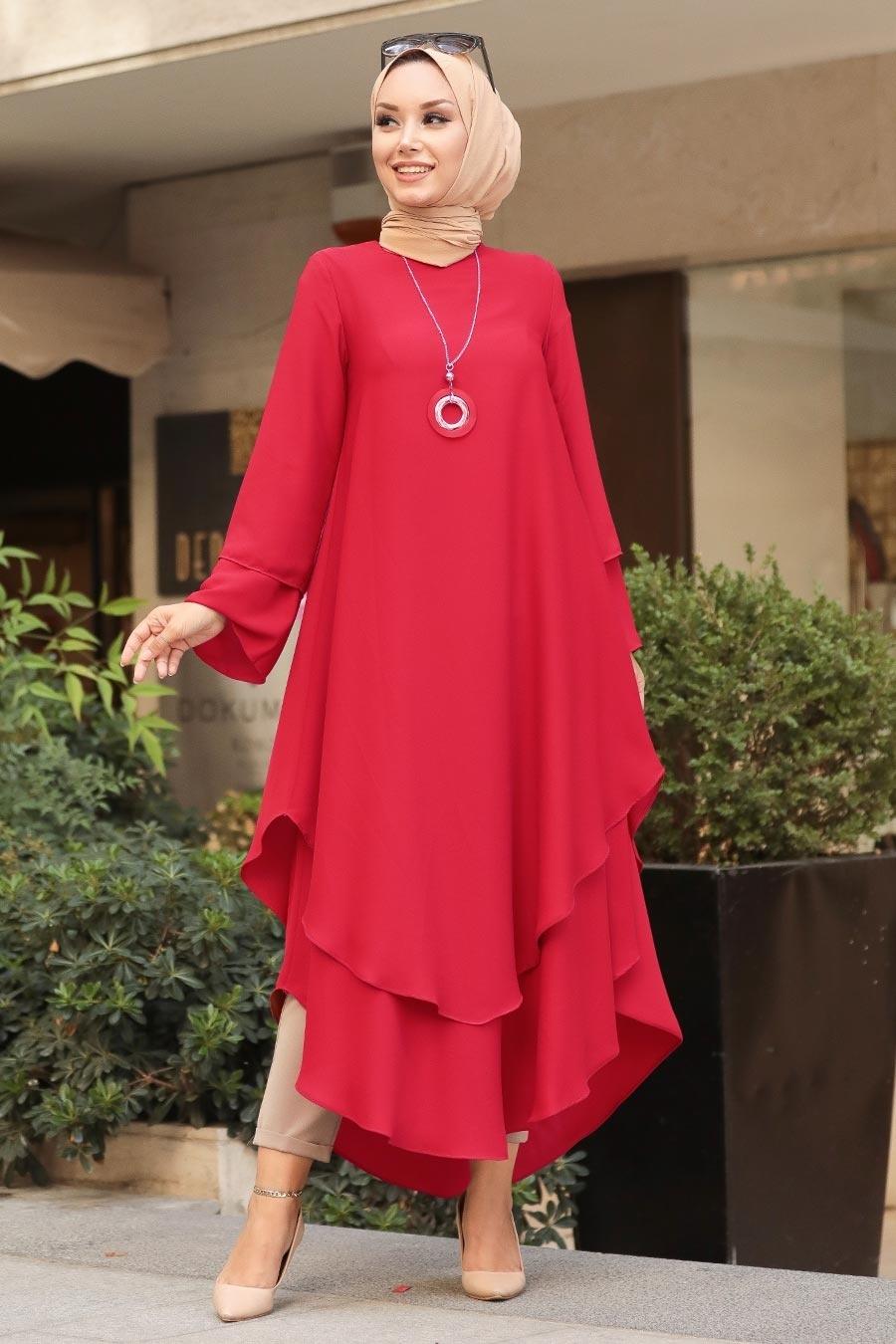 Neva Style -Kırmızı Tesettür Tunik 33170K