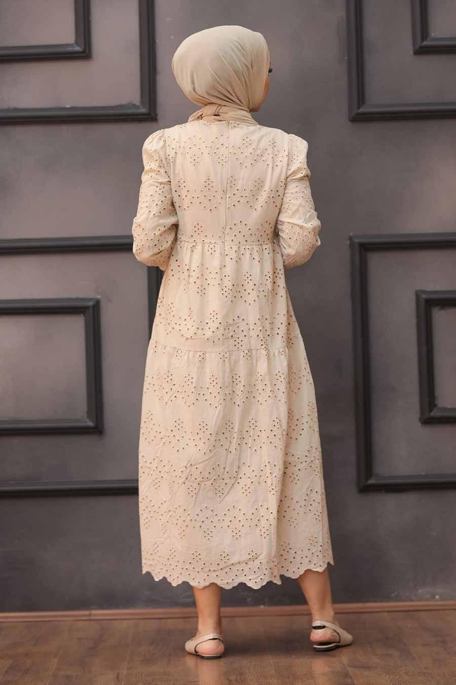 Neva Style - Kol Ucu Lastikli Bej Tesettür Elbise 1073BEJ