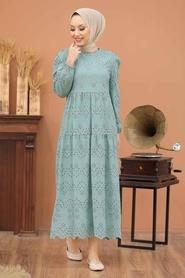 Neva Style - Kol Ucu Lastikli Çağla Yeşili Tesettür Elbise 1073CY - Thumbnail