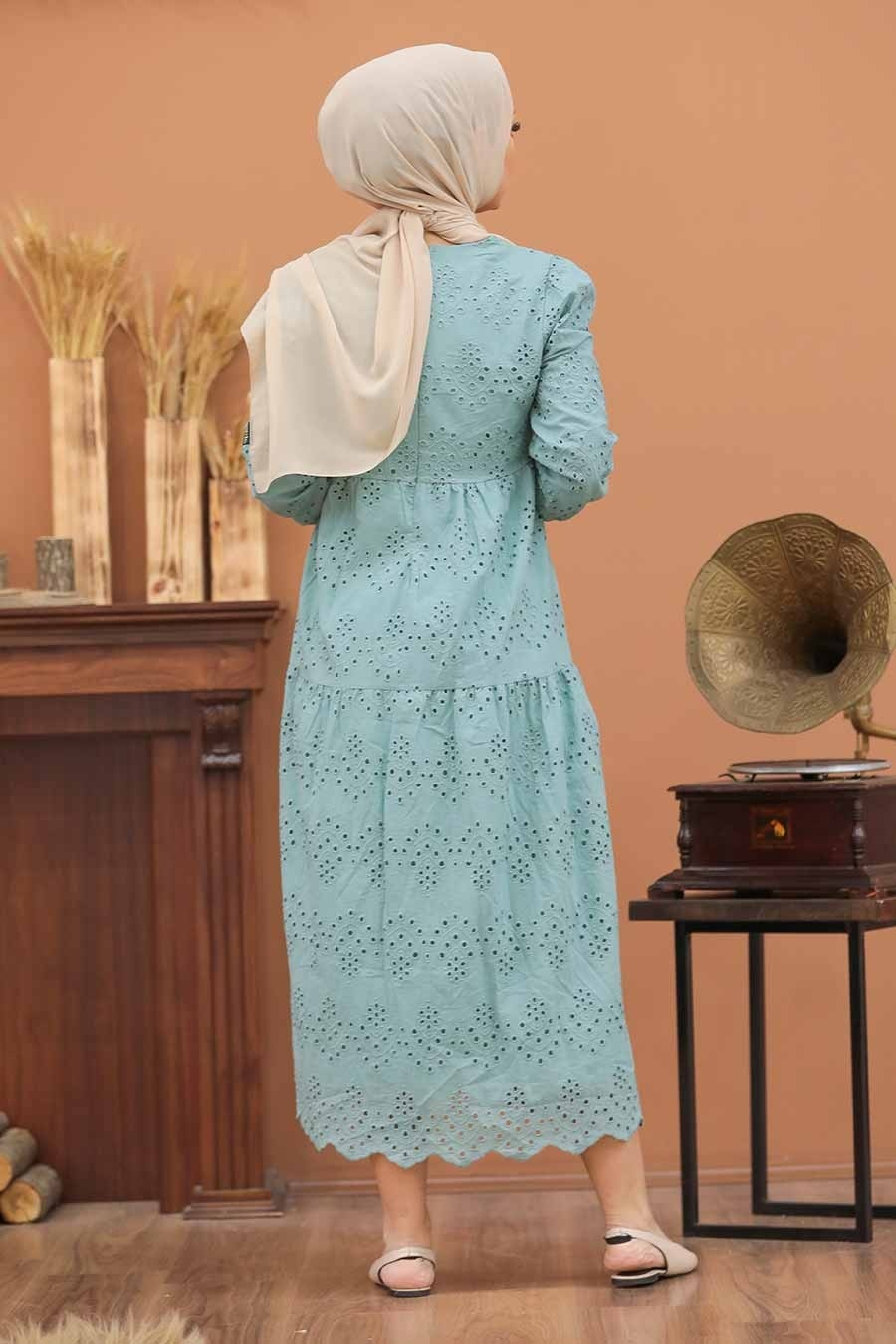 Neva Style - Kol Ucu Lastikli Çağla Yeşili Tesettür Elbise 1073CY