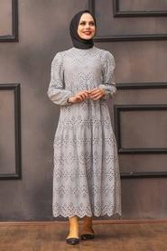 Neva Style - Kol Ucu Lastikli Gri Tesettür Elbise 1073GR - Thumbnail
