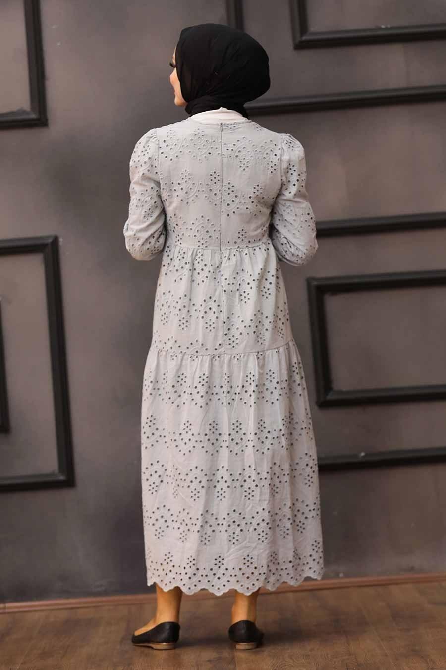 Neva Style - Kol Ucu Lastikli Gri Tesettür Elbise 1073GR