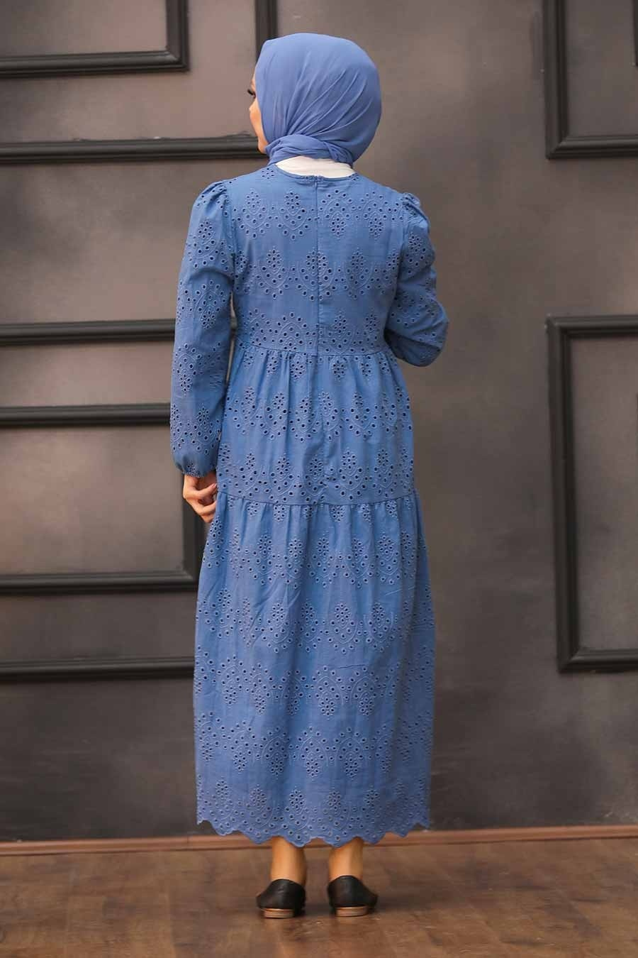 Neva Style - Kol Ucu Lastikli İndigo Mavisi Tesettür Elbise 1073IM