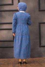Neva Style - Kol Ucu Lastikli İndigo Mavisi Tesettür Elbise 1073IM - Thumbnail