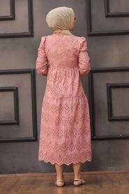 Neva Style - Kol Ucu Lastikli Pudra Tesettür Elbise 1073PD - Thumbnail